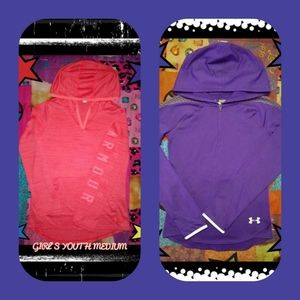 2 YOUTH MEDIUM GIRL'S UNDER ARMOUR PULLOVERS